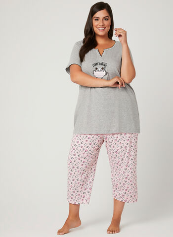 René Rofé – Cat & Coffee Appliqué Nightshirt, Grey, hi-res