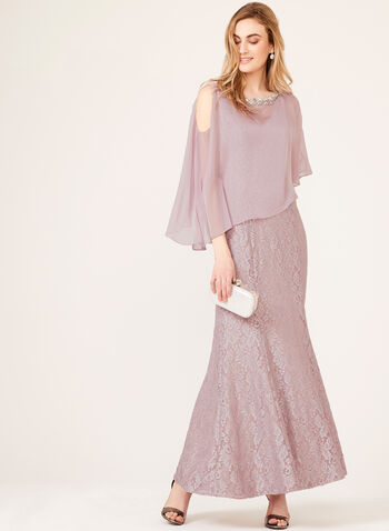 Glitter Lace Dress Sequin Chiffon Poncho Set, Purple, hi-res