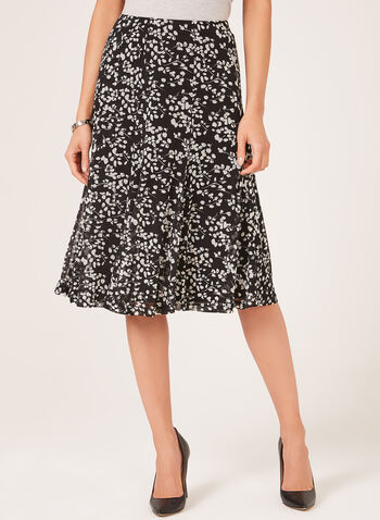 Abstract Print Gored Mesh Skirt, Black, hi-res