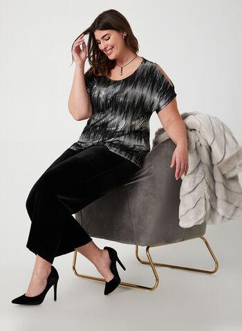 Pantalon coupe moderne en velours, Noir,  pantalon, moderne, jambe large, velours, pull-on, automne hiver 2019