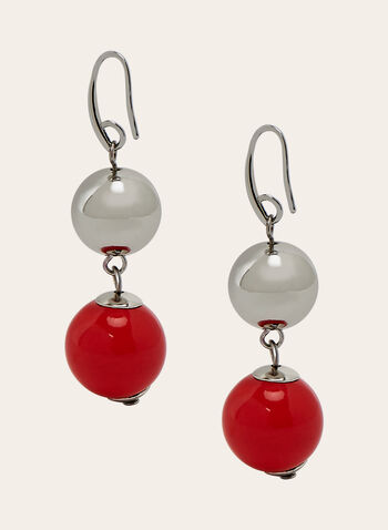 Two Tiered Dangle Earrings, Red, hi-res