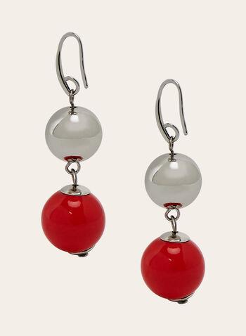 Boucles d'oreilles à pendants perles, Rouge, hi-res