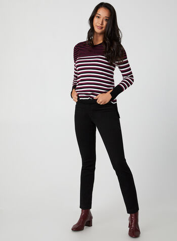 Stripe Print Sweater, Black,  sweater, stripe print, striped sweater, long sleeves, rhinestones, fall 2019, winter 2019