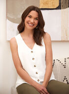 Sleeveless Button Front Blouse, Off White