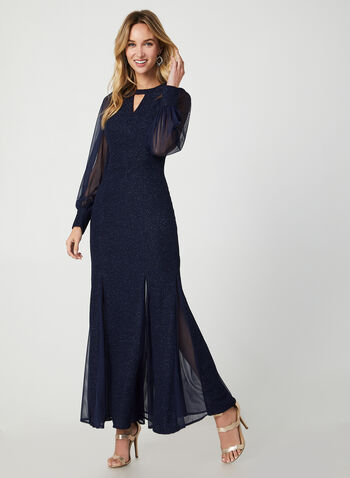 Long Glitter Evening Dress, Blue,  evening dress, long dress, evening gown, dress, glitter dress, glitter, chiffon, chiffon dress, balloon sleeves, fall 2019, winter 2019