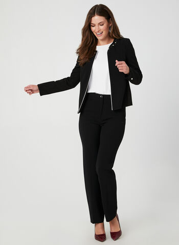 Pearl Detail Open Blazer, Black, hi-res,  short jacket, edge-to-edge blazer, open front jacket