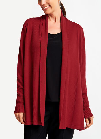 Knit Shawl Collar Cardigan , Red, hi-res