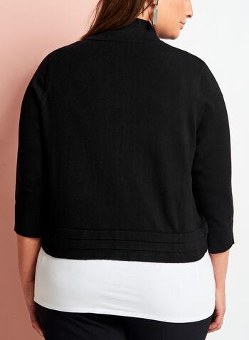 3/4 Sleeve Triple Pleat Knit Bolero, Black, hi-res