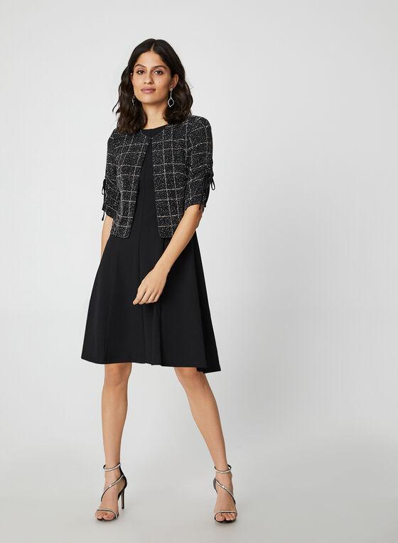Glitter Jacket Crepe Dress Set, Black