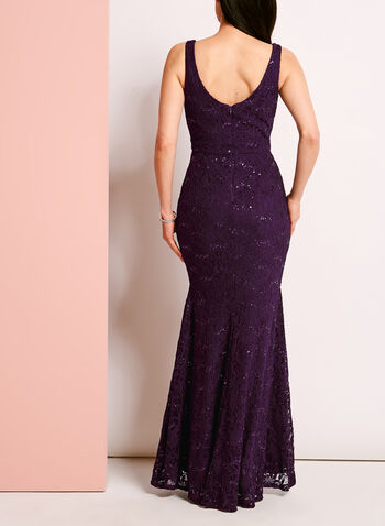 Sweetheart Neck Sequined Lace Gown, , hi-res