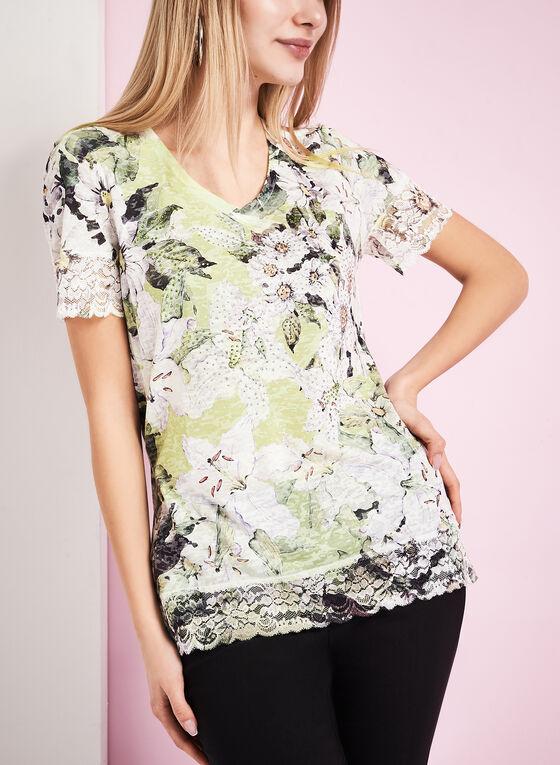 T-shirt à fleurs, brillants et dentelle, Vert, hi-res