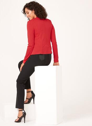 Vex - Veste ouverte à col cranté et détails zippés, Rouge, hi-res