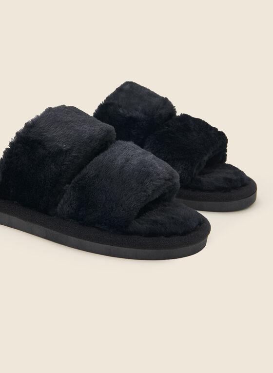Plush Strap Top Slippers, Black