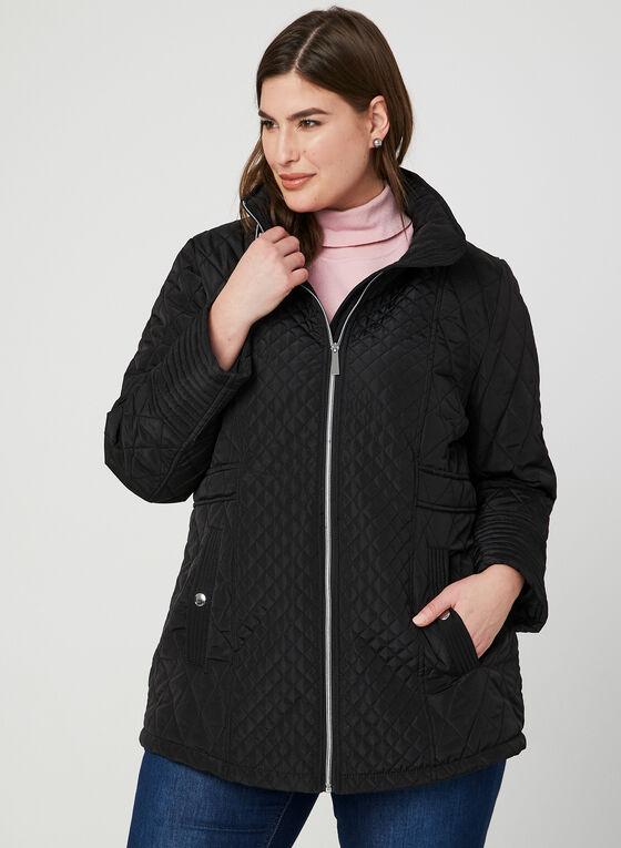 Manteau matelassé à col montant, Noir, hi-res