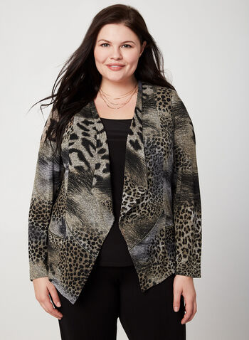 Vex - Animal Print Cardigan, Brown, hi-res,  fall winter 2019, animal print, long sleeves, open front