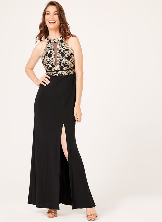 Glitter Lace Gown, Black, hi-res