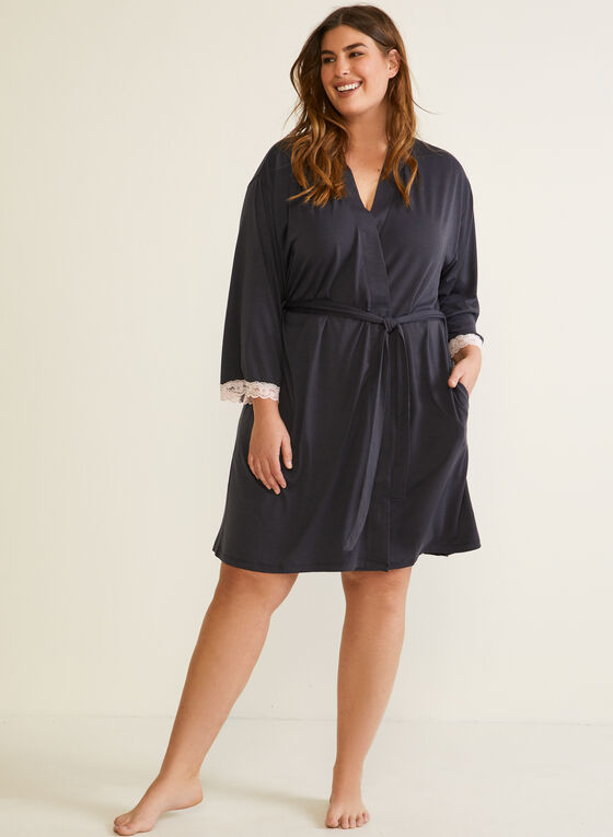 Lace Trim Robe, Grey