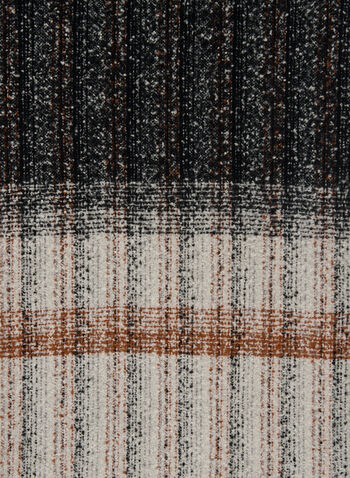Striped Boucle Scarf, Brown,  fall winter 2020, scarf, boucle knit, striped, frayed, frayed hem