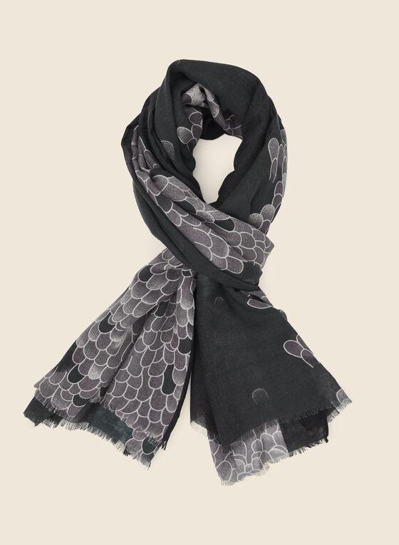 Snakeskin Print Scarf, Black