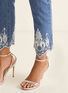 Embroidered Hem Slim Leg Jeans, Blue