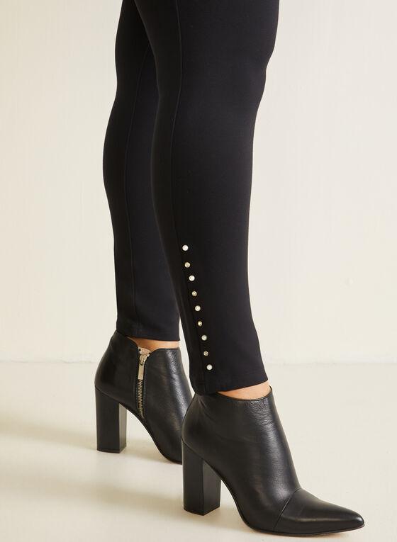 Pearl Detail Leggings, Black