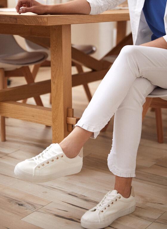 Ruffled Cuff Jeans, Off White