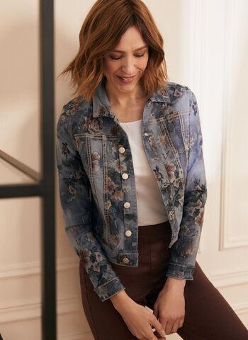 Reversible Denim Jacket, Blue,  jacket, denim, reversible, monochrome, floral, spring summer 2020