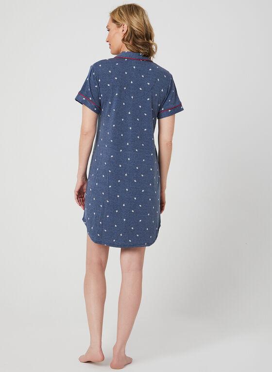 Claudel Lingerie – Marine Print Nightshirt, Blue, hi-res