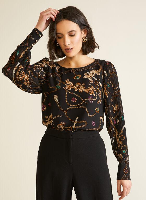 Jewel & Chain Print Blouse, Black