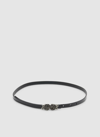 Thin Rose Buckle Belt, Black, hi-res,  leather, buckle, floral, adjustable, one size, fall 2019, winter 2019