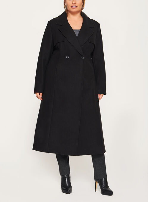 Novelti - Long Wool Like Coat, Black, hi-res