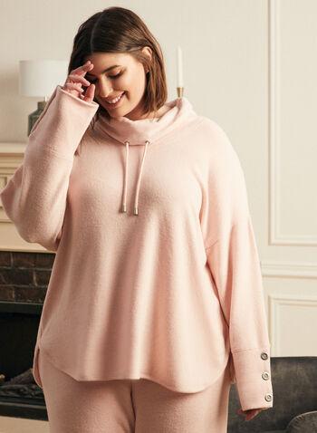 Haut en tricot avec boutons , Rose,  haut, col bénitier, cordon, manches longues, chandail, pull, haut, tricot, automne hiver 2020