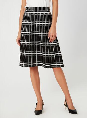 Charlie B - Plaid Print Skirt, Black, hi-res,  plaid, geometric, skirt, elastic, jacquard, fall 2019, winter 2019, Charlie B, midi