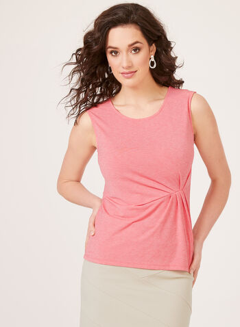 Gathered Sleeveless Top, Orange, hi-res