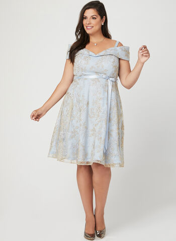 Embroidered Off The Shoulder Dress, Blue, hi-res