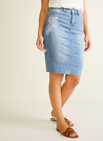 Blossom - Embroidered Detail Denim Skirt, Blue,  skirt, straight, denim, pockets, raw edge, spring summer 2020