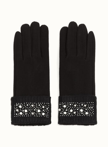 Studded Crystal & Pearl Gloves, Black, hi-res