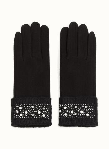 Gants tactiles à perles et cristaux, Noir, hi-res