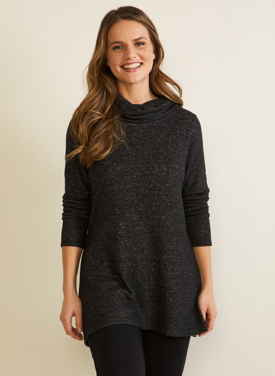 Cowl Neck Knit Tunic, Grey