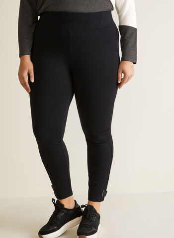 Tab Detail Leggings, Black,  leggings, pull-on, tab, grommet, ponte di roma, fall winter 2020