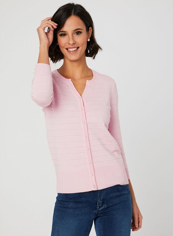 Jacquard Knit Cardigan, Pink