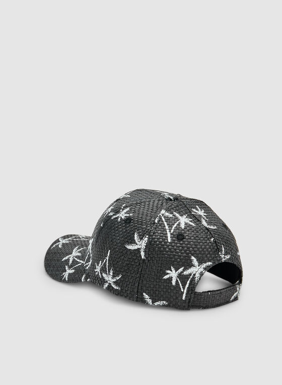 Palm Tree Print Cap, Black, hi-res