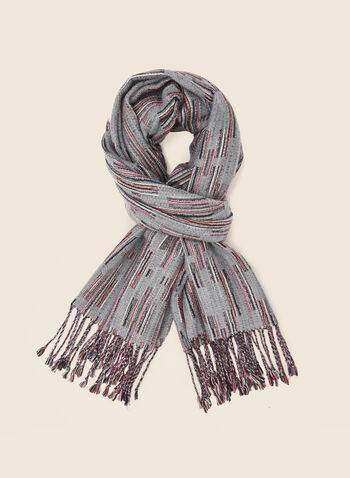 Abstract Print Scarf, Grey,  fall winter 2020, scarf, fringed, fringed hem, abstract print, accessories