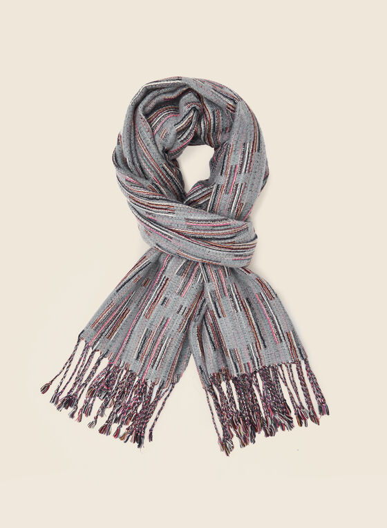 Abstract Print Scarf, Grey