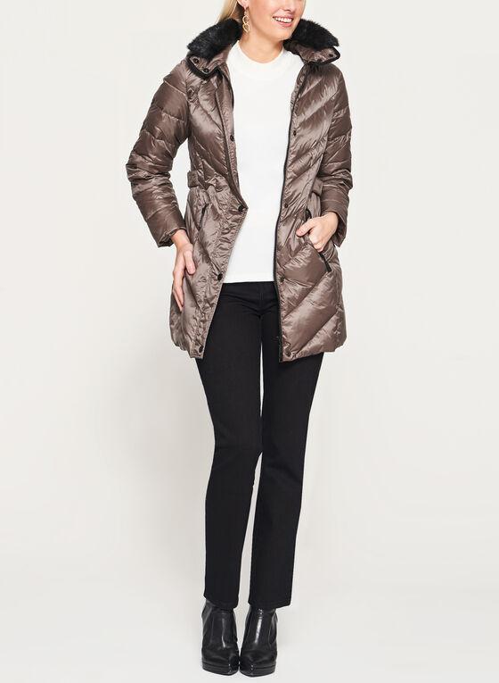 Faux Fur Trim Hooded Down Coat, Brown, hi-res