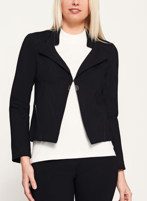 Vex - Zipper Trim Cropped Jacket, Black, hi-res