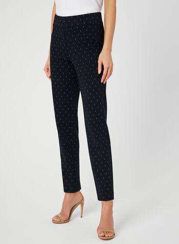 Pantalon coupe moderne motif œil-de-perdrix, Bleu, hi-res,