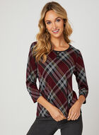 Plaid Print ¾ Sleeve Blouse, Red, hi-res