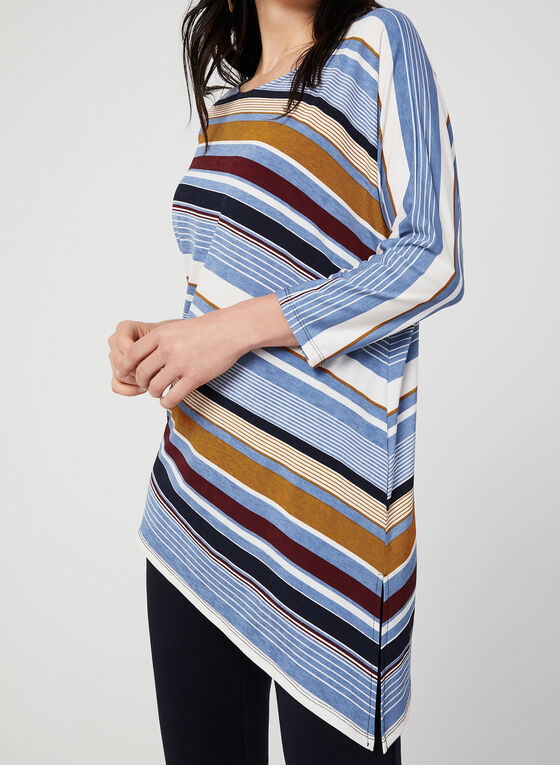 Stripe Print Asymmetric Top, Blue, hi-res