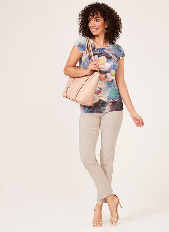 Vex - Floral Print Burnout T-Shirt, Blue, hi-res